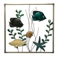 "Fish 20"" Square 3D Metal Wall Art"