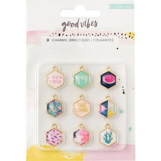 Good Vibes Charm Embellishments 9/Pkg