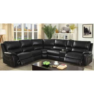 furniture of america phyloso contemporary black top grain leather sectional - Leather Sectional Sofa