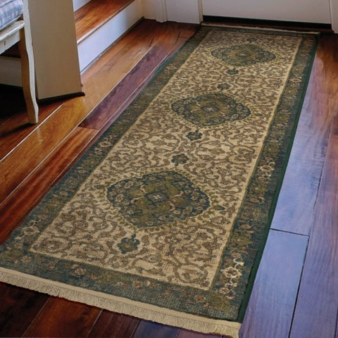 Copper Grove Hara Distressed Traditonal Fringe Cream/ Navy Runner Rug by - 1'11 x 7'6