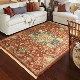 Gracewood Hollow Jerome Red/MultiColor Fringe Area Rug - 9' x 13'