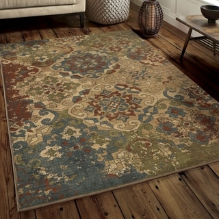 "The Curated Nomad Mount Hood Distressed Medallion Multicolored Area Rug - 5'3"" x 7'6"""