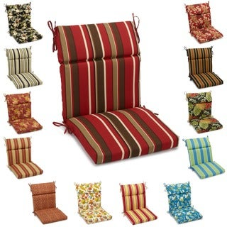 "Blazing Needles 42 x 20-inch Designer Outdoor Chair Cushion - 42"" x 20"" in Monserrat Sangria (As Is Item)"