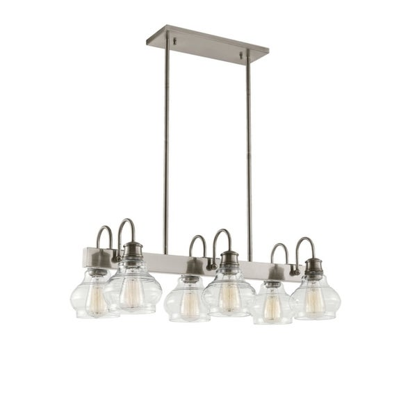 Kichler Lighting Schoolhouse Collection 6-light Classic Pewter Linear Chandelier