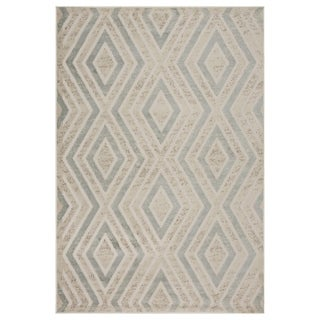 LR Home Tranquility Green and Light Blue Olefin Runner Rug - 7'9 x 9'5
