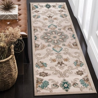"""LR Home Tranquility Green and Light Blue Indoor runner rug (7'9""""x9'5"""") - 2'1"""" x 7'"""