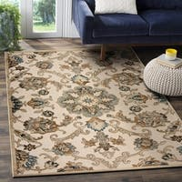 LR Home Tranquility Green and Light Blue Indoor Runner Rug (3'x5') - 3'6 x 5'10