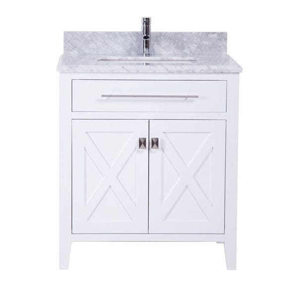 30 Inch White Bathroom Vanity With Marble Sink Top