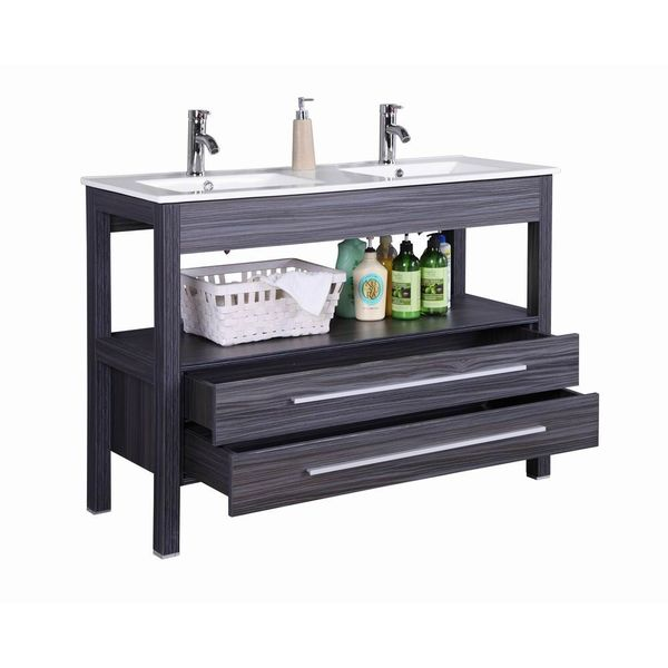 Shop 48 inch Freestanding Modern Veneer Double Sink ...