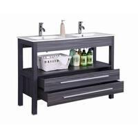 48 inch Freestanding Modern Veneer Double Sink Bathroom Vanity w/ Stone Top