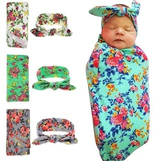 Sweet Newborn Baby Swaddle Blanket and Headband 3 Pack Value Set, Receiving Blankets