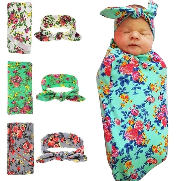 Swaddling And Receiving Blankets Best Shop Sweet Newborn Baby Swaddle Blanket And Headband 60 Pack Value