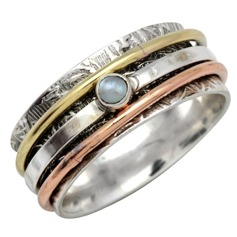 Sterling Silver with Copper and Brass Accents Spinner Pearl Ring