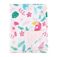 Pink Birds Baby Blanket Super Soft Minky