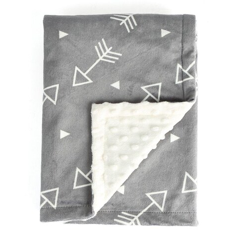 Gray Baby Blanket Super Soft Minky