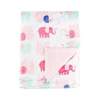 Pink Elephant Baby Blanket Super Soft Minky