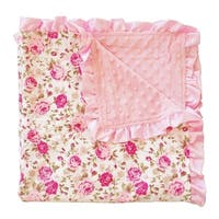 "Kids Blanket Soft Minky Ruffled Edge Double Layer Throw Floral Baby Blankie 32"" by 32"""