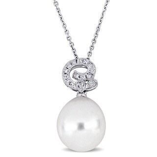 Miadora Signature Collection 18k White Gold South Sea Pearl and 1/8ct TDW Diamond Swirl Solitaire Drop Necklace (11.5-12 mm)
