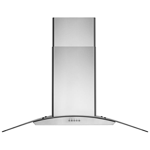 "AKDY 36"" Wall Mount Stainless Steel Tempered Glass Push Panel Kitchen Range Hood Cooking Fan"