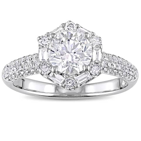 Miadora Signature Collection 18k White Gold 1-3/4ct TDW Round and Baguette-Cut Diamond Floral Halo Engagement Ring