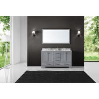 """60"""" Double Bathroom Vanity in Taupe Grey with Carrara Marble Top and Mirror"""