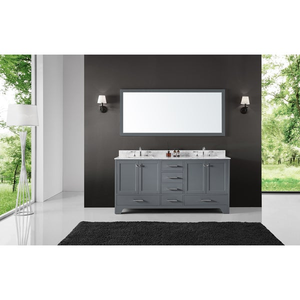 """72"""" Double Bathroom Vanity in Cashmere Grey with Carrara Marble Top and Mirror"""