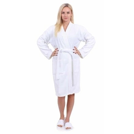 Turkuoise Terry Cloth Robe 100% Premium Turkish Cotton Terry Kimono Collar