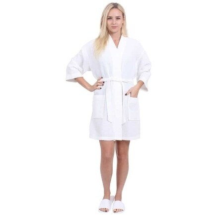 e44ead2792 Turkuoise Women  x27 s Turkish Cotton Knee Length Lightweight Bridesmaids  Waffle Kimono Robe