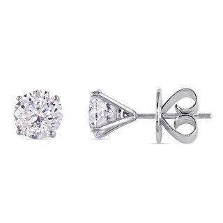 Miadora Signature Collection 18k White Gold 3ct TDW Diamond Solitaire Martini Stud Earrings