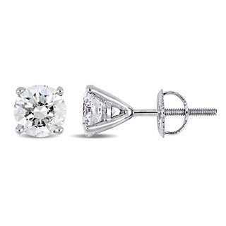Miadora Signature Collection 18k White Gold 2 1/2ct TDW Diamond Solitaire Martini Screw-Back Stud Earrings