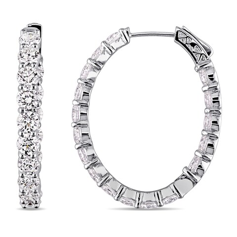 Miadora Signature Collection 14k White Gold 10-1/3ct TDW Certified Diamond Inside Outside Hoop Earrings (EGL)