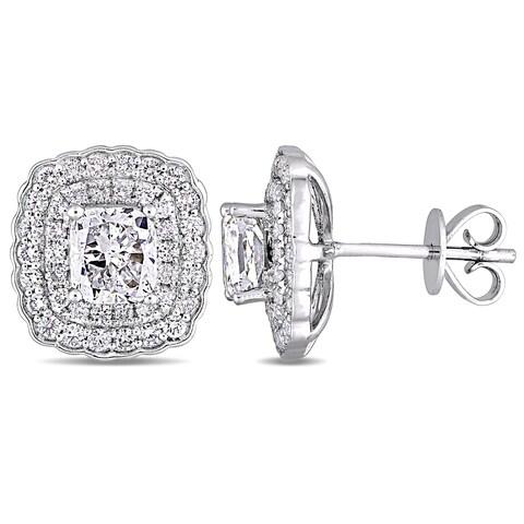 Miadora Signature Collection 14k White Gold 2 5/8ct TDW Cushion-Cut Diamond Double Square Halo Stud Earrings