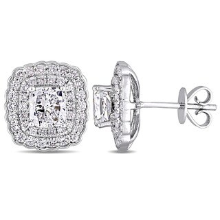 Miadora Signature Collection 14k White Gold 2 5/8ct TDW Cushion-Cut Diamond Double Square Halo Stud Earrings
