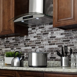 AKDY RH0271 36 in. Wall Mount Range Hood in Stainless Steel with Tempered Glass, Touch Control and Carbon Filters
