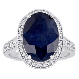 Miadora Signature Collection 14k White Gold Natural Corundum Sapphire and 3/4ct TDW Diamond Oval Halo Cocktail Ring