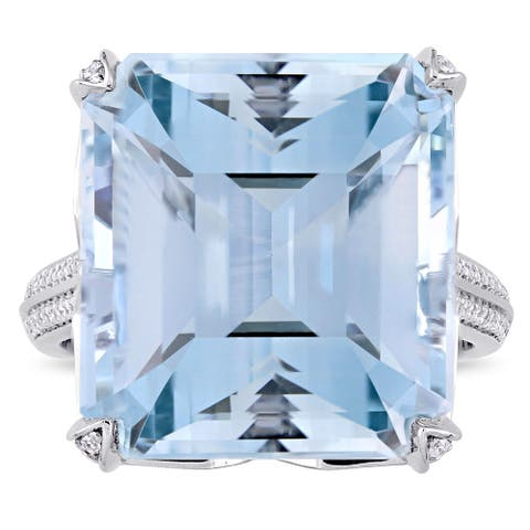 Miadora Signature Collection 14k White Gold Octagon Step-Cut Natural Sky-Blue Topaz and 3/5ct TDW Diamond Cocktail Ring - Blue