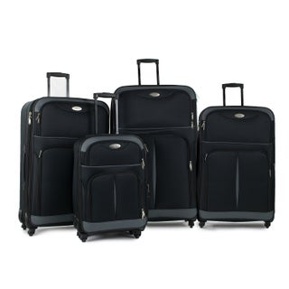 AMKA Two-Tone 4-piece Expandable Spinner Luggage Set
