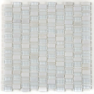 Clio Mosaics 1 X Random Mosaic Glass and Stone Tile in Luna - 12x12