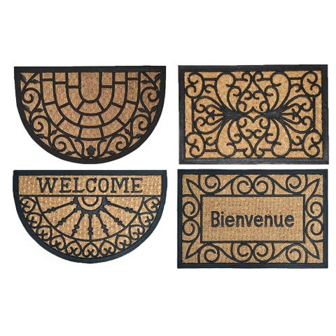 Evideco Sheltered Front Door Mat Sally Coir Coco Rubber