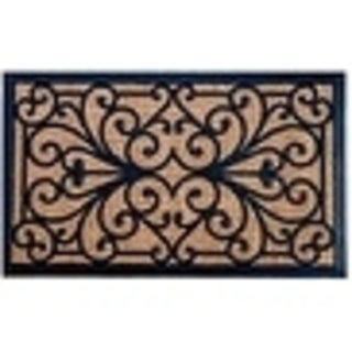 Evideco Sheltered Front Door Mat Sally Natural Braided Coir Coco Rubber Rug 24x16 Inch