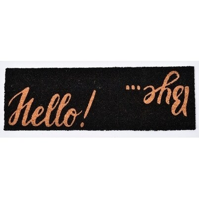 Evideco Sheltered Printed Large Front Door Mat Hello Bye Coir Coco Fibers Rug 30x10 Inch Black