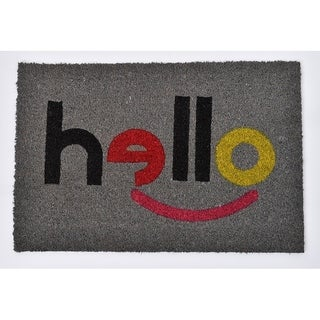 Evideco Sheltered Printed Front Door Mat Hello Coir Coco Fibers Rug 24x16 Inch Grey