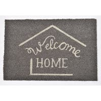 Evideco Sheltered Printed Front Door Mat Welcome Home Coir Coco Fibers Rug 24x16 Inch Grey