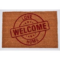 Evideco Sheltered Printed Front Door Mat Love Welcome Home Coir Coco Fibers Rug 24x16 Inch Natural