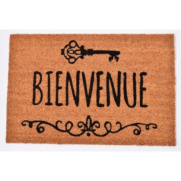 Evideco Sheltered Printed Front Door Mat Bienvenue Coir Coco Fibers Rug 24x16 Inch Natural