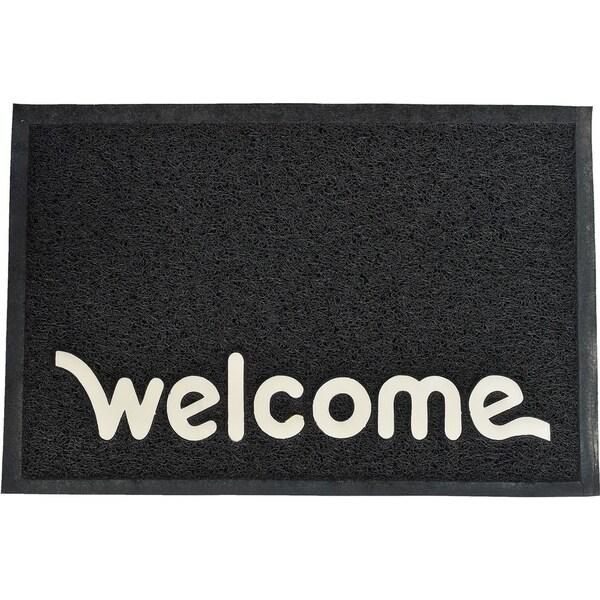 Evideco Outdoor Printed Front Door Mat Welcome PVC Rug 24x16 Inch Black