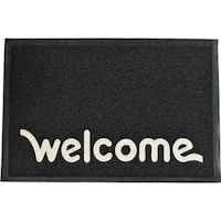 Evideco Outdoor Printed Front Door Mat Welcome PVC Rug 24x16 Inch Black