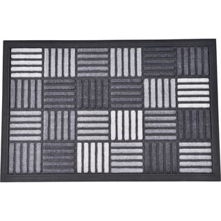 Evideco Sheltered Front Door Mat Caroll Nylon Rubber Checkered Rug 24x16 Inch Grey