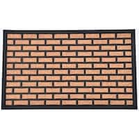 Evideco Sheltered Printed Front Door Mat Brick Polyester Rug 30x18 Inch