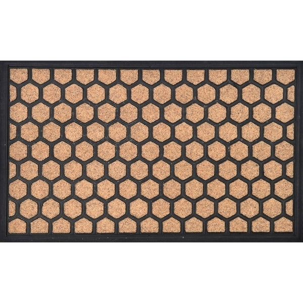 Evideco Sheltered Printed Front Door Mat Hive Polyester Rug 30x18 Inch